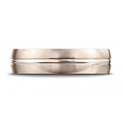 14k Rose Gold 6mm Comfort-fit Satin-finished With High Polished Center Cut Carved Design Band