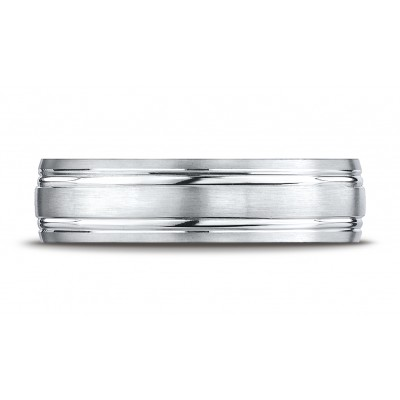 14k White Gold 6mm Comfort-fit Satin-finished With Parallel Grooves Carved Design Band