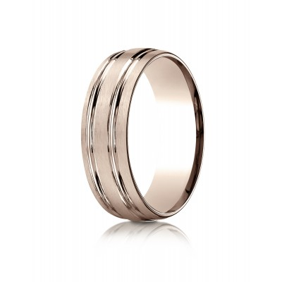 14k Rose Gold 7mm Comfort-fit Satin-finished With Parallel Grooves Carved Design Band