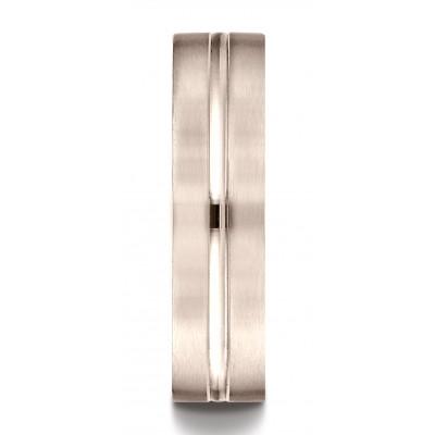 14k Rose Gold 6mm Comfort-fit Satin-finished With High Polished Center Cut Carved Design Band