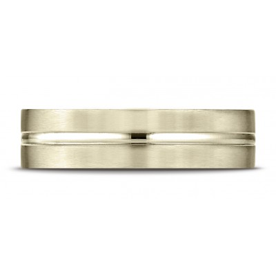 18k Yellow Gold 6mm Comfort-fit Satin-finished With High Polished Center Cut Carved Design Band