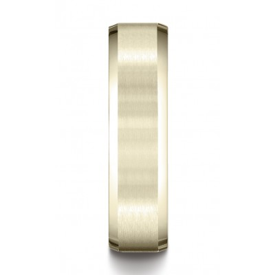 14k Yellow Gold 6mm Comfort-fit Satin-finished With High Polished Beveled Edge Carved Design Band