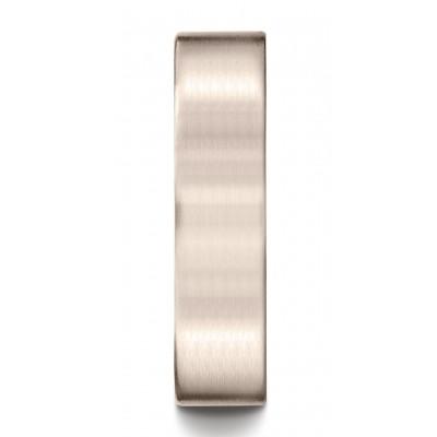 14k Rose Gold 6mm Comfort-fit Satin-finished Carved Design Band