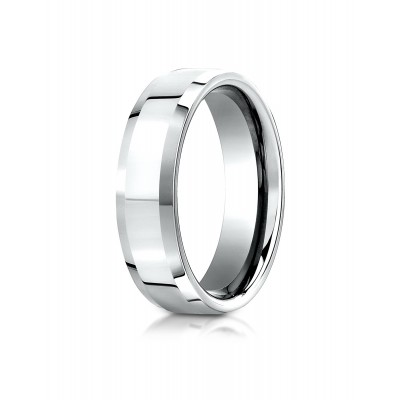 14k White Gold 6mm Comfort-fit High Polished Carved Design Band