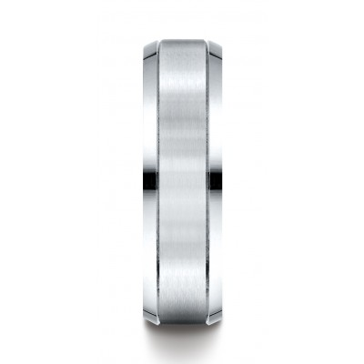 14k White Gold 6mm Comfort-fit Satin-finished High Polished Beveled Edge Carved Design Band