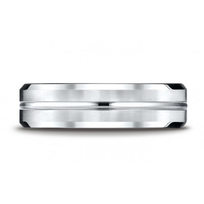 14k White Gold 6mm Comfort-fit Satin-finished With High Polished Cut Carved Design Band