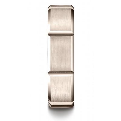 14k Rose Gold 6mm Comfort-fit Satin-finished Grooves Carved Design Band