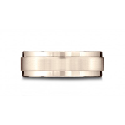 14 Karat Rose Gold 7mm Comfort-fit Bright Edge Satin Finish Center Design Band