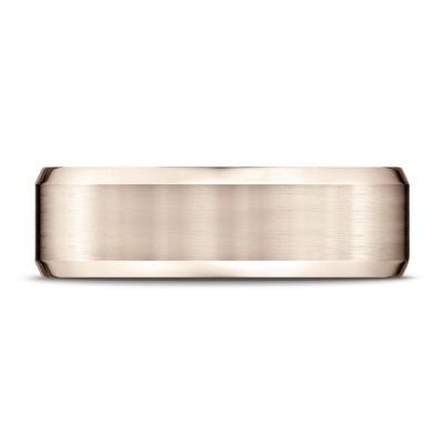 14k Rose Gold 7mm Comfort-fit Satin-finished With High Polished Beveled Edge Carved Design Band