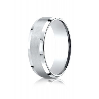 14k White Gold 7mm Comfort-fit Satin-finished With High Polished Beveled Edge Carved Design Band