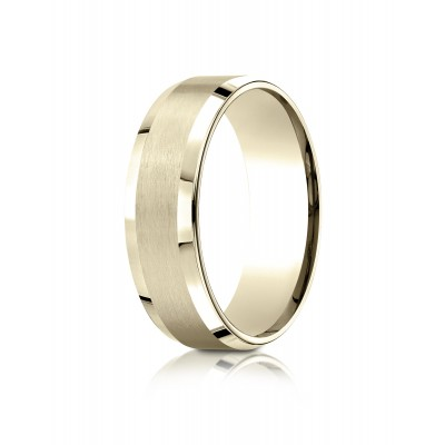 14k Yellow Gold 7mm Comfort-fit Satin-finished With High Polished Beveled Edge Carved Design Band