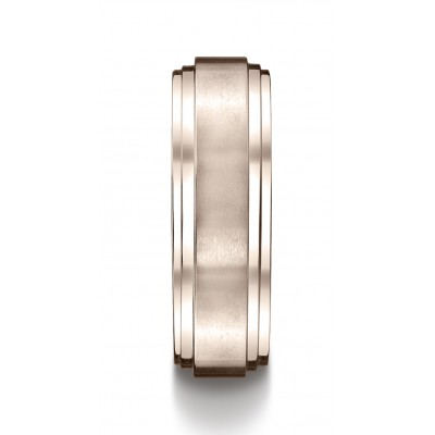 14k Rose Gold 8mm Comfort-fit Satin-finished Step Edge Carved Design Band