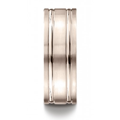 14k Rose Gold 8mm Comfort-fit Satin-finished With Parallel Grooves Carved Design Band
