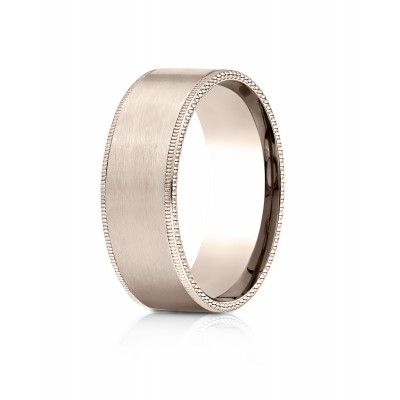 14k Rose Gold 8mm Comfort-fit Riveted Edge Satin Finish Design Band