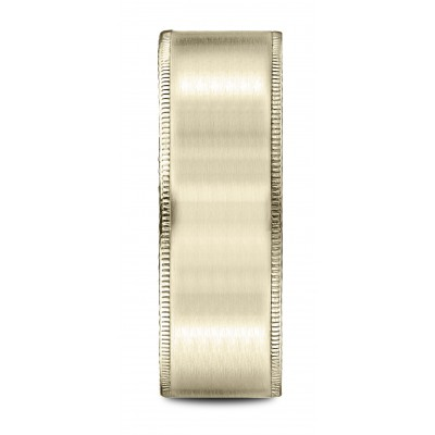 14k Yellow Gold 8mm Comfort-fit Riveted Edge Satin Finish Design Band