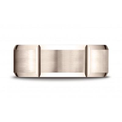 14k Rose Gold 8mm Comfort-fit Satin-finished Grooves Carved Design Band