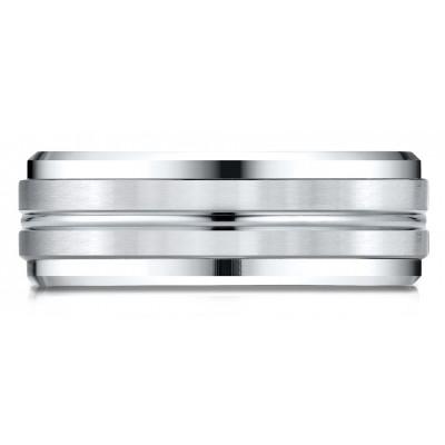 14k White Gold 8mm Comfort-fit Drop Bevel Satin Center Cut Design Band