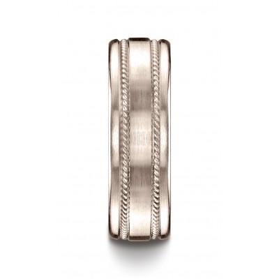 14k Rose Gold 7.5mm Comfort-fit Satin-finished Rope Carved Design Band