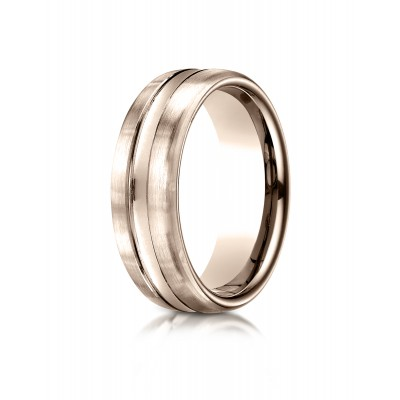 14k Rose Gold 7.5mm Comfort-fit Satin-finished High Polished Center Cut Carved Design Band