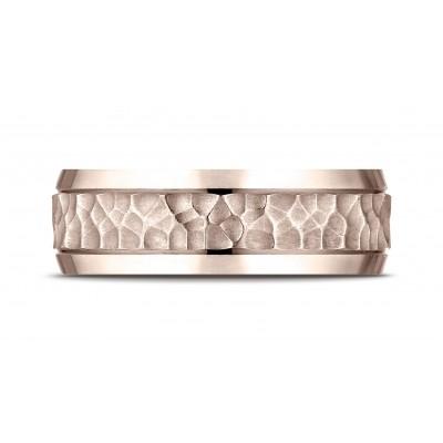 14k Rose Gold 7.5mm Comfort Fit Hammered Finish Beveled Edge Design Band