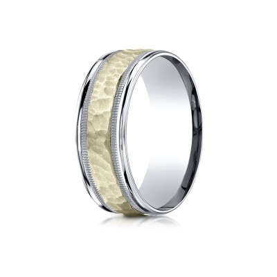 14k Two-toned 8mm Comfort-fit Hammered-finished With Milgrain Carved Design Band