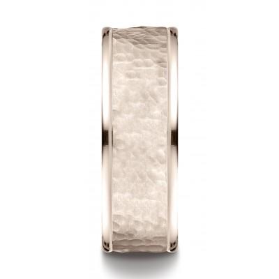 14k Rose Gold Comfort Fit 8mm High Polish Edge Hammered Center Design Band