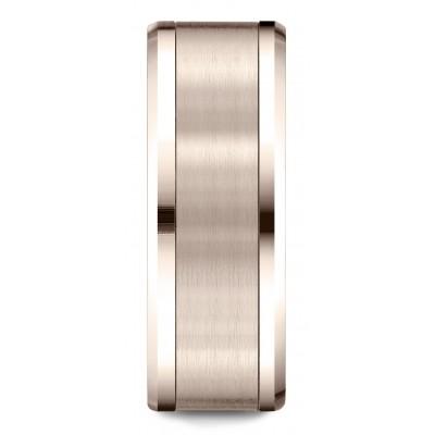 14 Karat Rose Gold 8mm Comfort-fit Drop Bevel Satin Finish Design Band