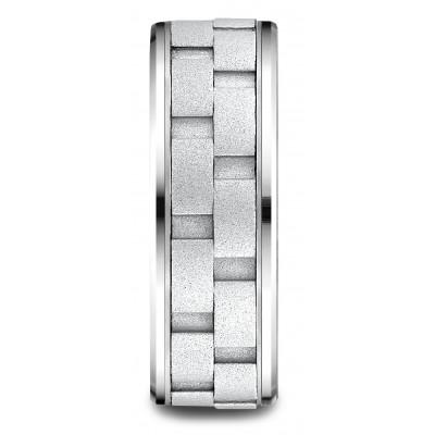 14 Karat White Gold 8mm Comfort-fit Drop Bevel Sandblasted Satin Finish Chain Link Design Band