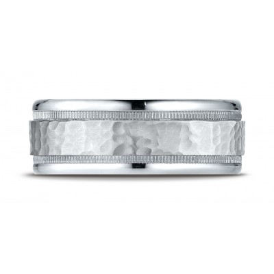 14k White Gold 8mm Comfort-fit Hammered Center High Polish Round Edge Carved Design Band