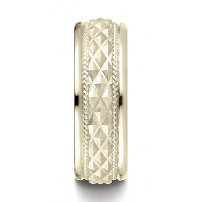 14k Yellow Gold 8mm Comfort Fit Round Edge Cross Hatch Patterned Band