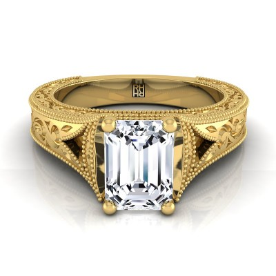 Emerald Cut Antique Inspired Engraved Diamond Engagement Ring With Millgrain Finish In 14k Yellow Gold