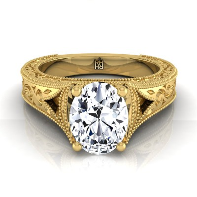Oval Antique Inspired Engraved Diamond Engagement Ring With Millgrain Finish In 14k Yellow Gold