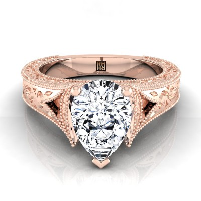 Pear Shape Antique Inspired Engraved Diamond Engagement Ring With Millgrain Finish In 14k Rose Gold