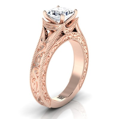 Princess Cut Antique Inspired Engraved Diamond Engagement Ring With Millgrain Finish In 14k Rose Gold