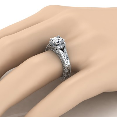 Round Brilliant Antique Inspired Engraved Diamond Engagement Ring With Millgrain Finish In 14k White Gold