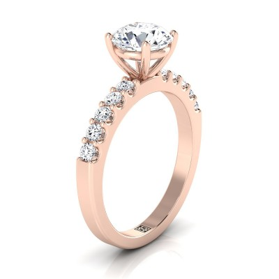 Shared Prong Diamond Engagement Ring In 14k Rose Gold (1/3 Ct.tw.)