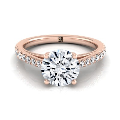 Classic 4 Prong Diamond Engagement Ring In 14k Rose Gold (1/4 Ct.tw.)