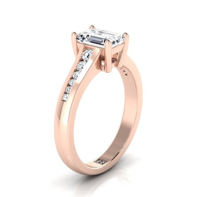 Emerald Cut Channel Diamond Engagement Ring In 14k Rose Gold (1/6 Ct.tw.)