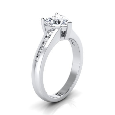 Heart Shape Channel Diamond Engagement Ring In 14k White Gold (1/6 Ct.tw.)