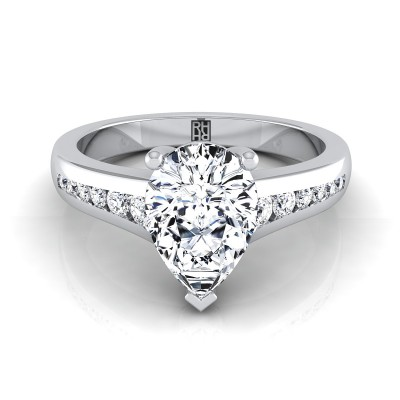 Pear Shape Channel Diamond Engagement Ring In 14k White Gold (1/6 Ct.tw.)