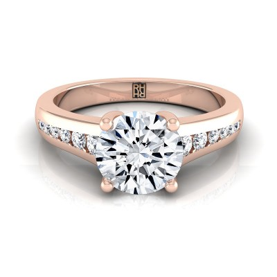 Channel Diamond Engagement Ring In 14k Rose Gold (1/6 Ct.tw.)