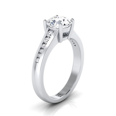 Channel Diamond Engagement Ring In 14k White Gold (1/6 Ct.tw.)