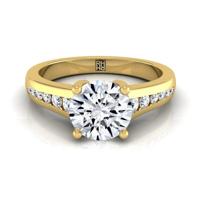 Channel Diamond Engagement Ring In 14k Yellow Gold (1/6 Ct.tw.)
