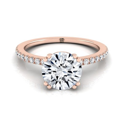 Classic Petite Split Prong  Diamond Engagement Ring In 14k Rose  Gold (1/6 Ct.tw.)
