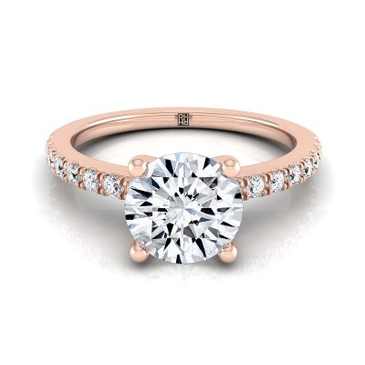 Classic Petite Split Prong  Diamond Engagement Ring In 14k Rose Gold (1/5 Ct.tw.)