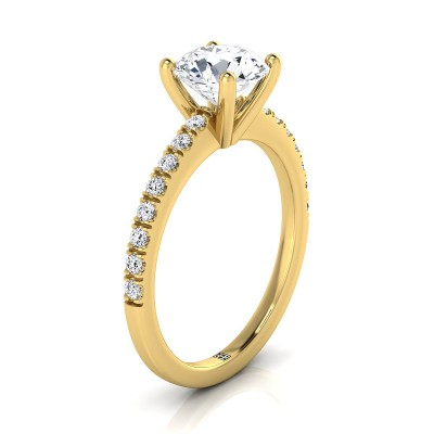 Classic Petite Split Prong  Diamond Engagement Ring In 14k Yellow Gold (1/5 Ct.tw.)