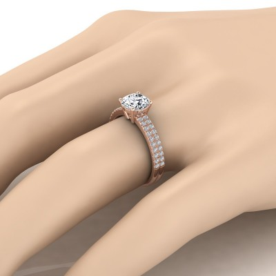 Diamond Double Row Engagement Ring With Micro U Set Pave In 14k Rose Gold (1/4 Ct.tw.)