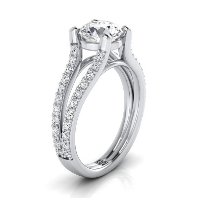 Diamond Engagement Ring With Split Pave Shank In 14k White Gold (1/2 Ct.tw.)