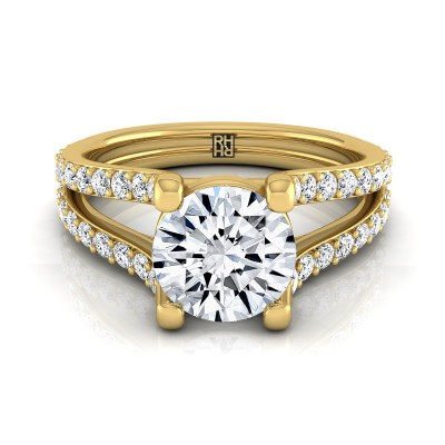 Diamond Engagement Ring With Split Pave Shank In 14k Yellow Gold (1/2 Ct.tw.)