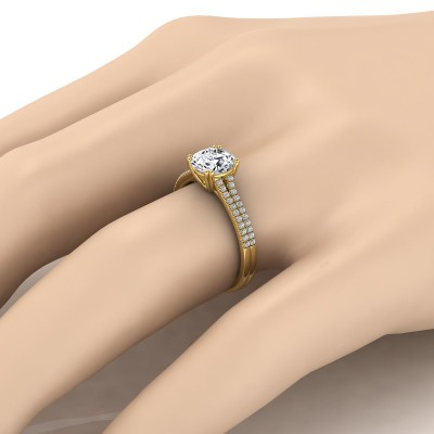 Diamond 2 Row Engagement Ring With A Double Prong Cathedral Setting In 14k Yellow Gold (1/5 Ct.tw.)